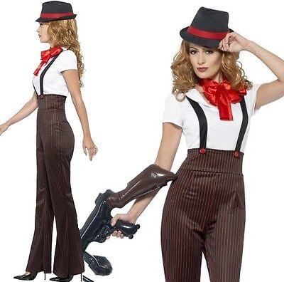Damen 20er 1920er Jahre Glam Gangster Damen Kostüm KOSTÜM S - XL von Smiffys Neu