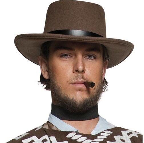 Mens Deluxe Wandering Gunman Clint Cowboy Hat Fancy Dress New by Smiffys