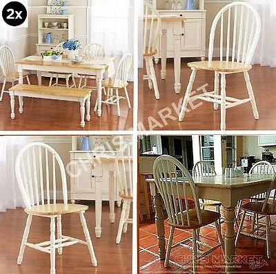 White and Natural Windsor Chairs Dining Room Kitchen Home Furniture Set of 2
