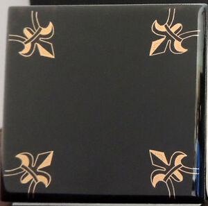 home decor black and gold tiles fleur de lis kitchen backsplash tile