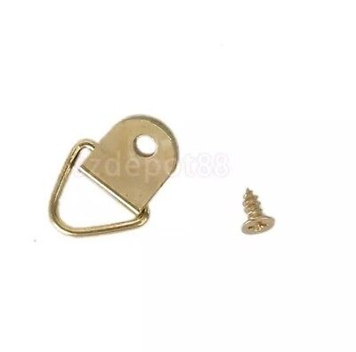 10 X Picture Frame Hooks with Screws UK Seller Hanging Triangle D Ring Photo Wal