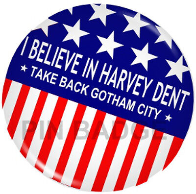 Batman Dark Knight Harvey Dent 2 Face Joker Pin Badge NEW Costumes Fancy Dress