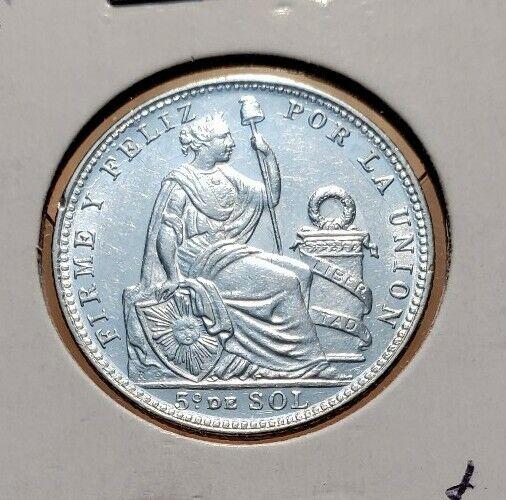 1912 (GEM-BU) Peru 1/5 Sol  World Silver Coin With Repunched Date