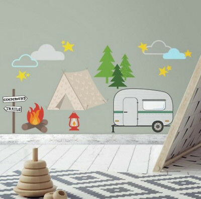Camping Wall Stickers 24 Decals Room Decor Campfire Camper Tent Trees Clouds