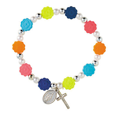 Flower Prayer Bead Rosary Bracelet with Crucifix Miraculous Medal 7 1/2