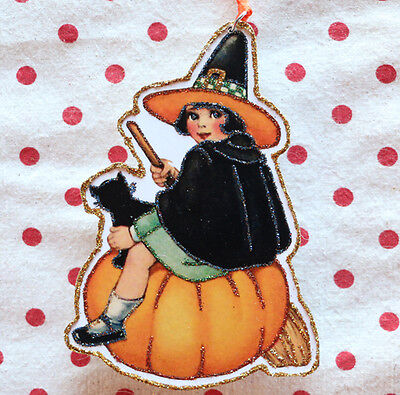 Glittered Wooden Halloween Ornament ~ Little Girl Witch~ Vintage Halloween Image
