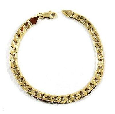Men's 10K Yellow Gold Plated 8in Cuban Link Bracelet 4.7 MM
