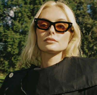 NWT Poppy Lissiman Black Cateye Sunglasses Orange Retro Lens