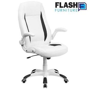 NEW FLASH FURNITURE OFFICE CHAIR HIGH BACK WHITE LEATHER WITH FLIP-UP ARMS 112532782