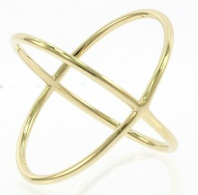 Unique Criss Cross Ladies Ring In 14 kt Yellow Gold.