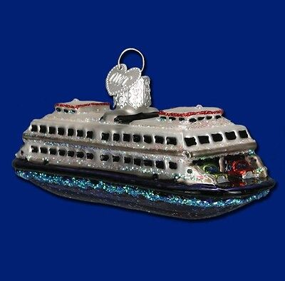 FERRY OLD WORLD CHRISTMAS GLASS BOAT NAUTICAL TRANSPORTATION ORNAMENT 46046
