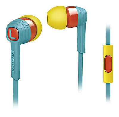 Philips SHE7055BR In-Ear Headphones Mic Yellow earbuds Noise Isolating Red Teal