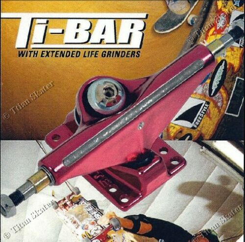 TITAN TI-BAR 5.0 Skateboard Trucks with GRIND BAR INSERTS (1 Pair) NOS CLEARANCE