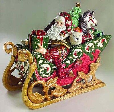 "NEW Fitz & Floyd LARGE ""CHRISTMAS TIDINGS"" SANTA SLEIGH Cookie Jar Centerpiece"