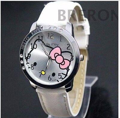 New Hello Kitty Cartoon Leather Diamond Watch Quartz Women/Girls Watch- White