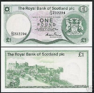 SCOTLAND 1 POUND P341 1985 DEER HORSE EDINBURGH CASTLE UNC NOTE for sale  Shipping to Canada