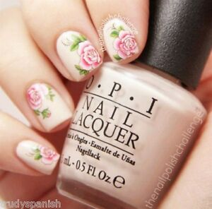 Nail Art Stickers Nail Water Decals Nail Transfers Pink Flowers Roses 1829