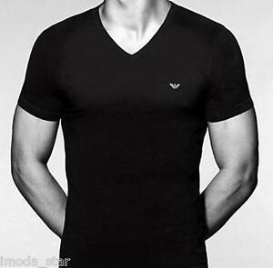 emporio armani men 39 s cotton logo v neck t shirt size m. Black Bedroom Furniture Sets. Home Design Ideas