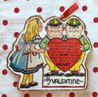 Glittered Wooden Valentine Ornament~Alice In Wonderland~Free Shipping