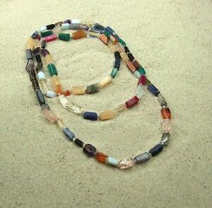 Multicolor Rechteckkette, Halbedelsteine, Edelstein Kette, endlos, ca. 80 cm