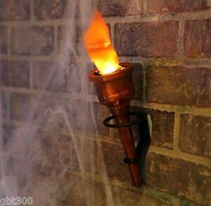 Pair 2 Torch Fake Flame Light Halloween Decor Prop Hand