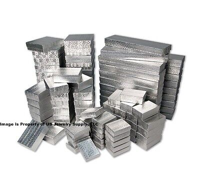 Wholesale 200 Assorted Mix Silver Cotton Fill Jewelry Packaging Gift 2 Pc Boxes