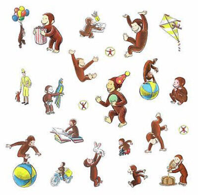 CURIOUS GEORGE storybook wall stickers 22 decals decor monkey balloons man kite - Curious George Man