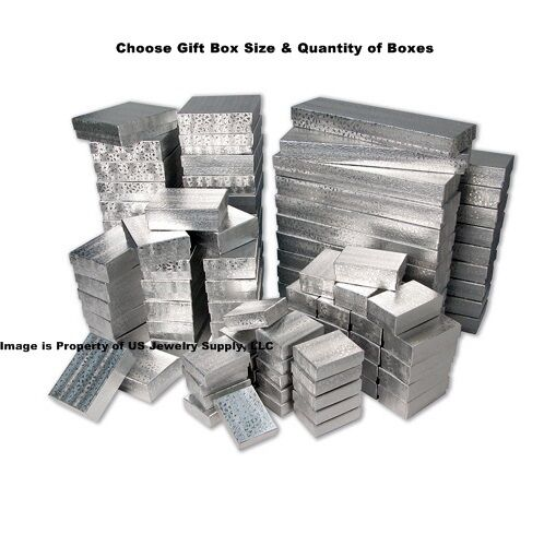 Silver Texture & Cotton Fill Packaging Craft Jewelry Gift Box Collectibles Boxes