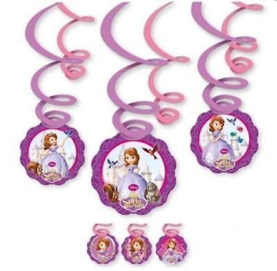 SOFIA THE FIRST Birthday Party Hanging Swirl Decorations (6 Pack) - Sofia The First Birthday Party Decorations