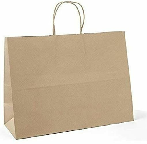 """16x6x12"""" Tote Rope Handle Paper Shopping Bags, Natural Kraft (250/Case)"""