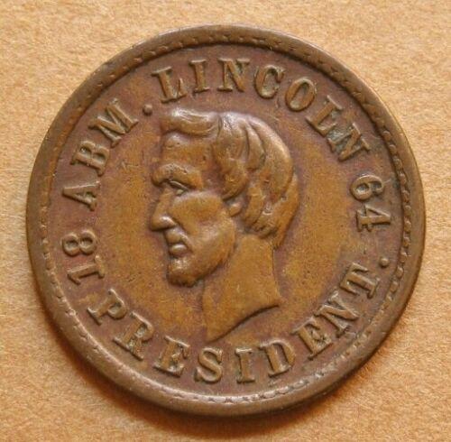 Rare Anti-slavery Civil War Token - Fuld 124/294a R-7 EF - Lincoln / Freedom