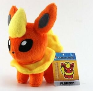 NEW-Flareon-Pokemon-Center-Plush-Pokedoll-USA-with-North-West-Tags-Attached-NWT