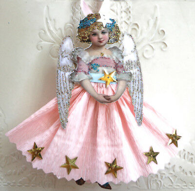 Vintage Style Christmas Ornament- Paper Doll ~Pink Angel