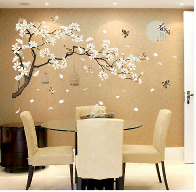 Big Size Tree Wall Stickers Birds Flower Home Decor Wallpapers for Living Room for sale  Shipping to India
