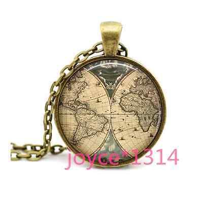 Vintage World Map Cabochon Bronze Glass Chain Pendant Necklace #1224 ()