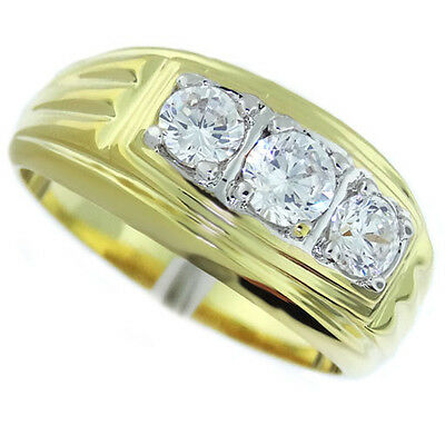 3 Clear CZ Stones Two Tone 18kt Gold Plated Mens Ring