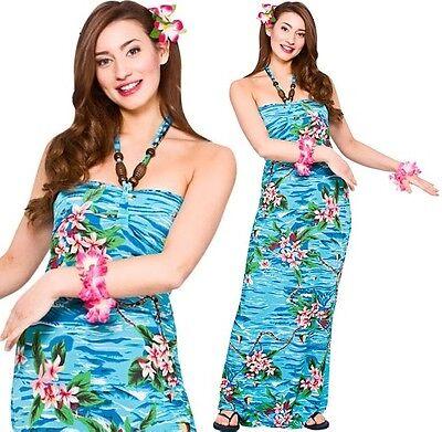 Damen Hawaii Mädchen Kostüm Verkleidung Damen Maxi Kleid Outfit Orchidee Neu (Hawaii Mädchen Kostüm)