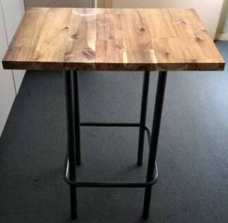 timber top metal legs side table, H760mm L605mm W375mm
