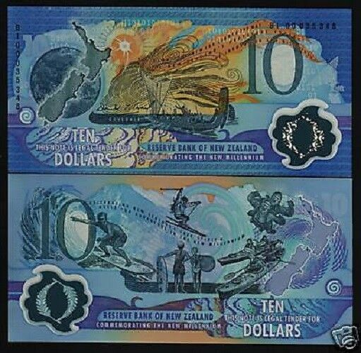 NEW ZEALAND 10 Dollars P190a 2000 Commemorative POLYMER SKI UNC MILLENNIUM NOTE