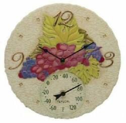 Taylor Grapes Wine Themed 14 Wall Clock and Thermometer Ships from USA Seller