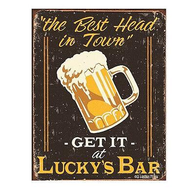 Lucky's Bar The Best Head In Town Tin Bar Sign - Retro Classic Metal Pub Decor