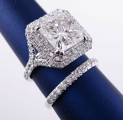 1.90 Ct Dual Halo Princess Cut Diamond Split Shank Bridal Ring Set D,VS1 GIA New