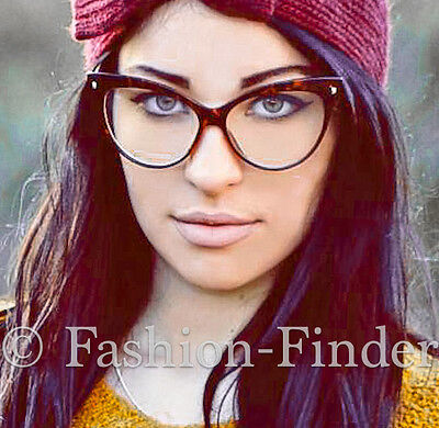 Oversized Large Big Cat Eye Brown Tortoise PIN UP Clear EYE GLASSES Frames Kitti (Big Glasses Frames)