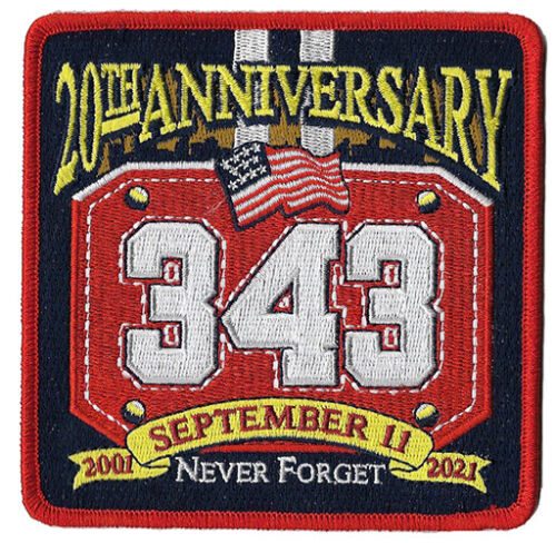 9-11 20 th Anniversary  343 Never Forget Helmet Shield NEW Fire Patch
