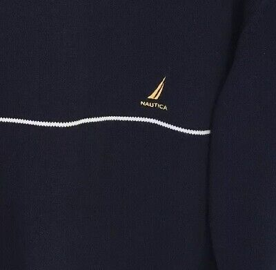 Nautica Mens Sweater Coral Blue L Maritime Crewneck Pullover