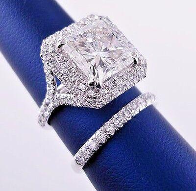 Natural  2.20 Ct Princess Cut Diamond Double Halo Engagement Ring Set H,SI1 GIA