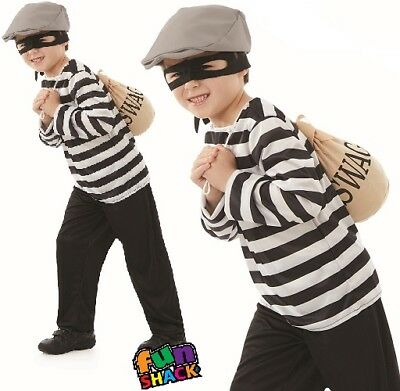 Kids Robber Costume (Childrens Boys Burglar Fancy Dress Costume Childs Robber Outfit New)