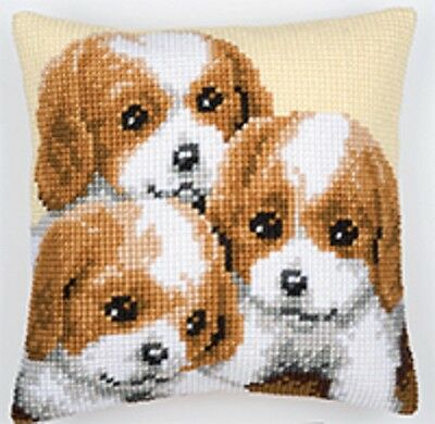 Puppies - Large Holed Tapestry Cushion Kit/Printed Chunky Cross Stitch