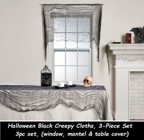 Halloween Black Creepy Cloths window, mantel & table cover Spider Cobwebs set