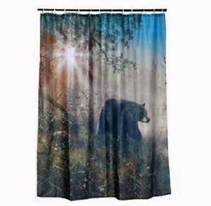 Black Bear Shower Curtain Set Cabin Hunting Outdoor Bathroom Decor W 12 Rings